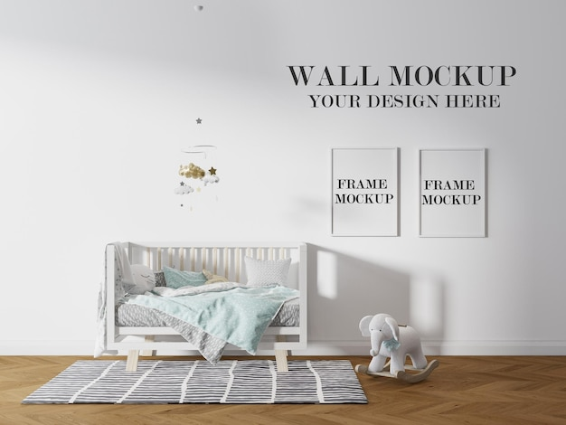 Nursery room wall and picture frames mockup