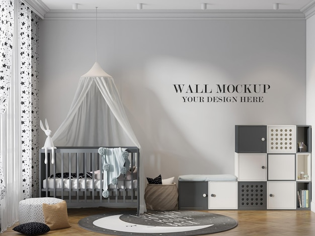 Шаблон стены детской комнаты в сцене 3d-рендеринга