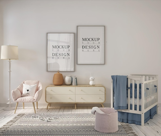 Детская комната с рамкой плаката дизайна макета