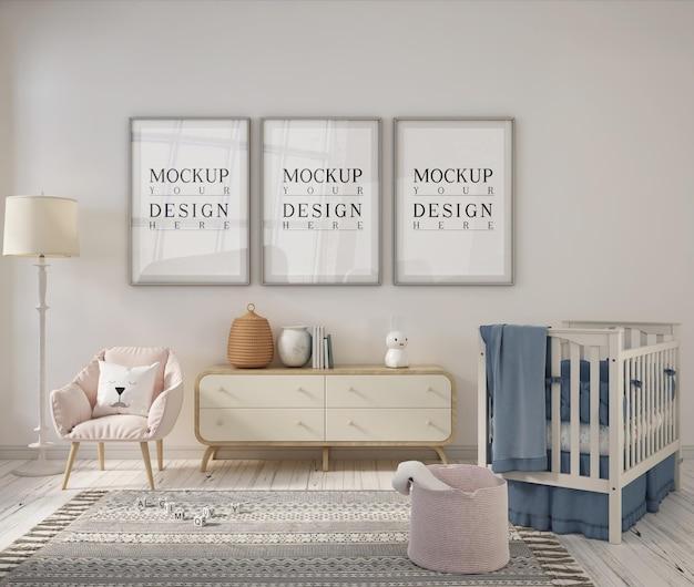 Nursery room with mockup design poster frame