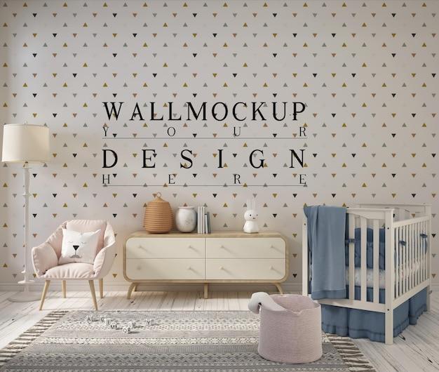 Nursery room with mockup design wall