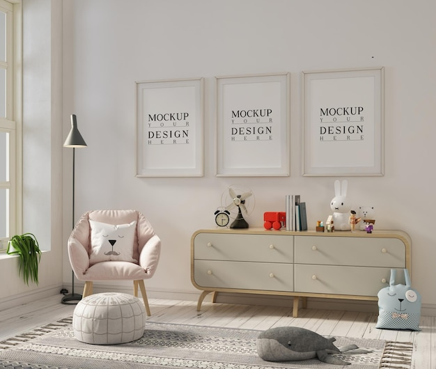 モックアップポスターフレームとアームチェア付きの保育室
