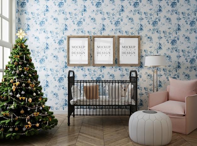 Nursery room with mockup poster frame and christmas tree