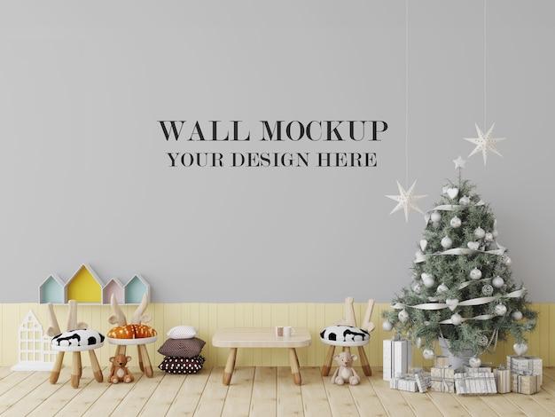 Nursery school wall mockup for new year eve