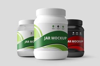 Nutrition Supplement Jar Mockup