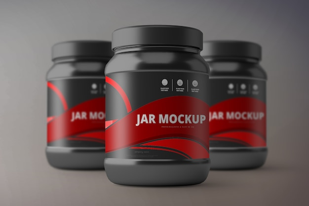 Nutrition supplement jar mockup