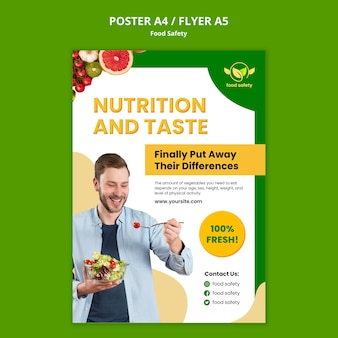 Modello di poster di nutrizione e gusto
