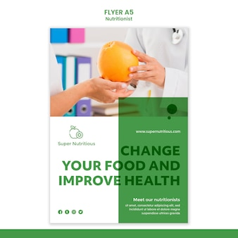 Nutritionist flyer template with photo