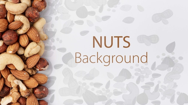 Nuts assortment mock-up background
