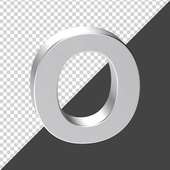 O письмо из серебра в 3d-рендеринге 3d реалистичная буква o