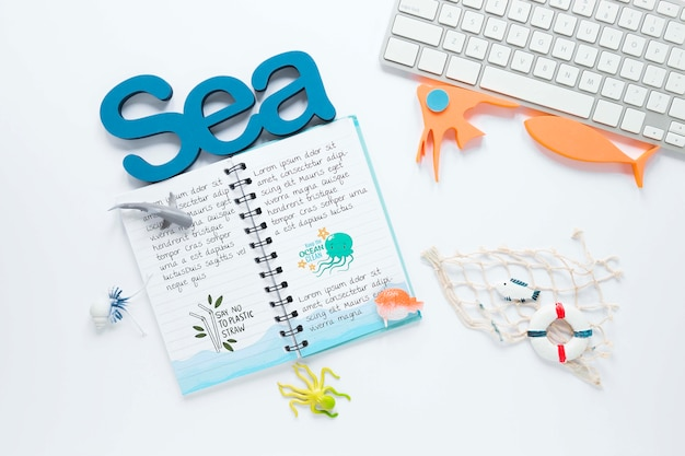 Ocean day notebook and keyboard concept