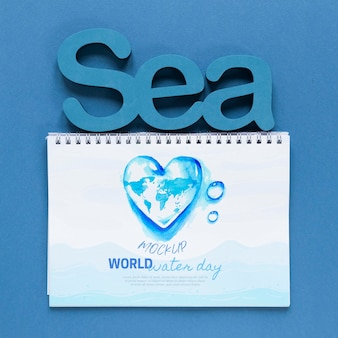 Ocean day save the underwater world mock-up