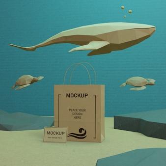 Океан день морской жизни концепция с макетом