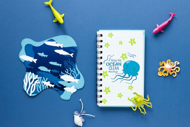 Ocean day with mock-up notepad