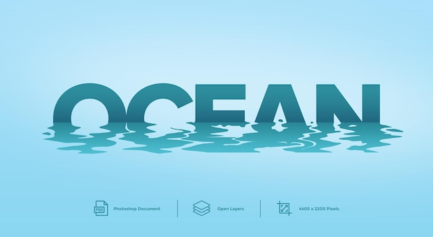 Ocean text effect design template style effect
