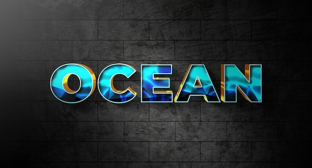 Ocean text style effect template