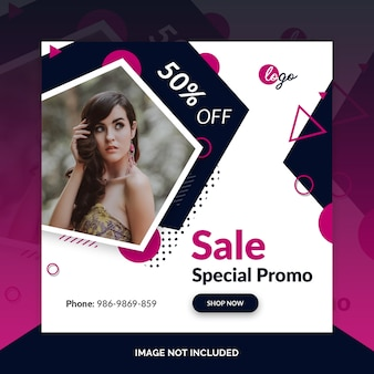 Offer sale web social media banner template