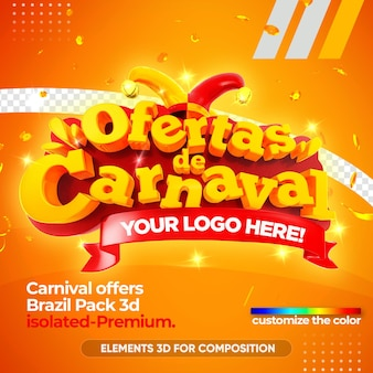 Offers carnival brazil 3d logo isolated in 3d rendering