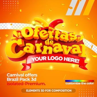 Предлагает карнавальный логотип бразилии 3d, изолированный в 3d-рендеринге