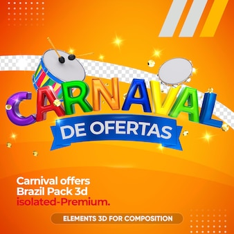 Offers carnival brazil in 3d rendering