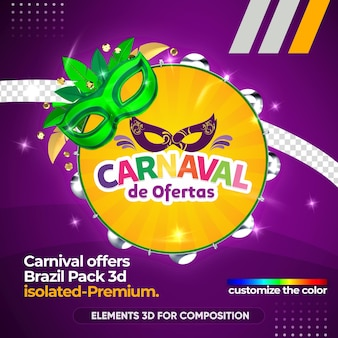 Offers carnival logo in 3d rendering