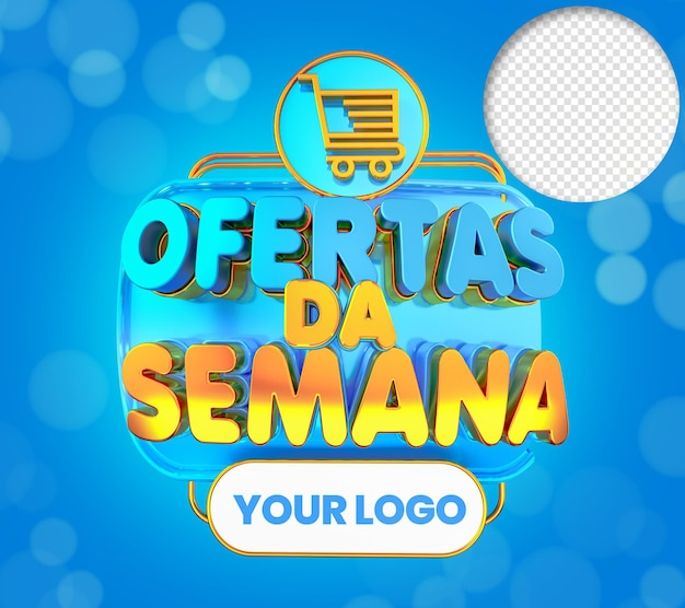 Offers of the week 3d text in blue and yellow orange with shopping cart stamp for sales trade