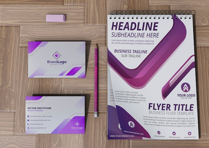 Office card and notepad brand company business mock-up paper
