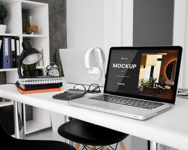 Office desk mock-up with laptop device
