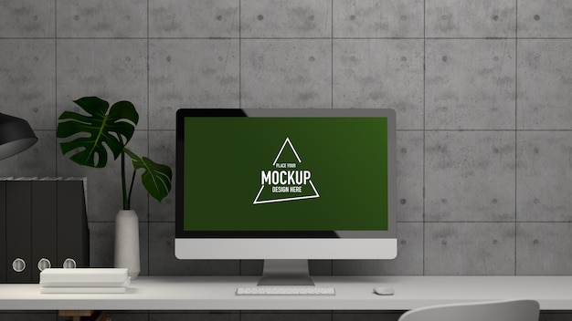 Office desk with computer mockup office supplies and plant vase on white table Premium Psd