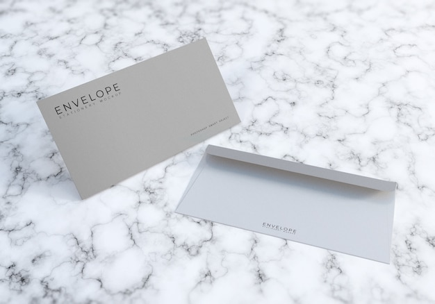 Office envelope mockup design with marble texture bacakground