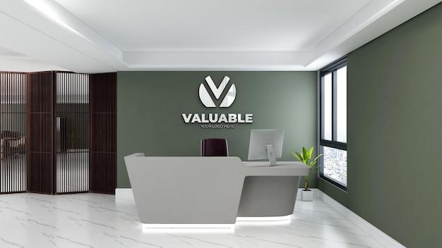 Макет логотипа стены стойки регистрации офиса
