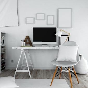 Офисная мебель простой стиль со стулом и столом