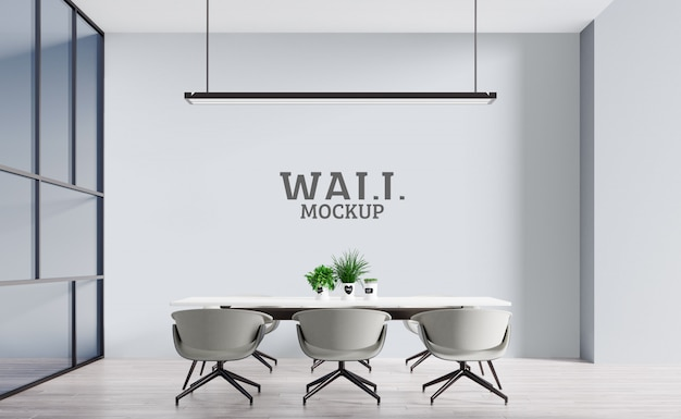 The office has neutral colors. wall mockup