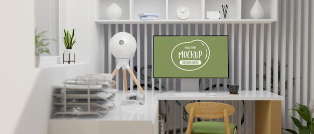 컴퓨터 책상 사무용품 가구 및 장식 3d 렌더링과 사무실 인테리어 디자인