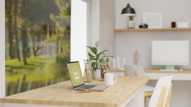 ラップトップ用品と装飾品を備えたオフィス インテリア デザイン 3d レンダリング