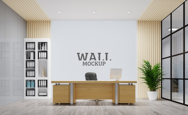 The office is modernly designed. wall mockup