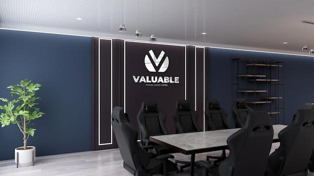Макет логотипа офиса в современном конференц-зале с 3d дизайном интерьера