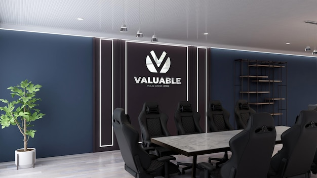 Office logo mockup in modern meeting room with 3d interior design