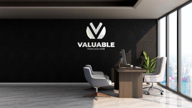 회사 벽 로고 목업을 위한 사무실 관리자 방