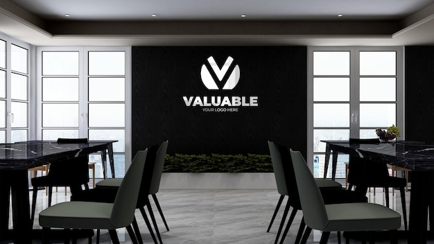 Office pantry or kitchen room for company branding wall logo mocku