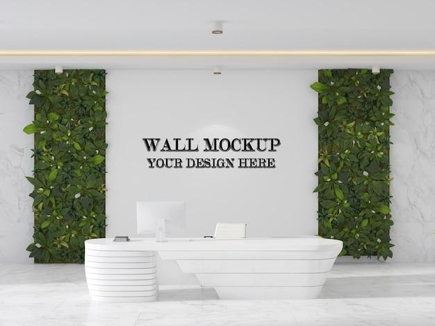 未来的なレセプションデスクとオフィスレセプションエリアの壁のモックアップ