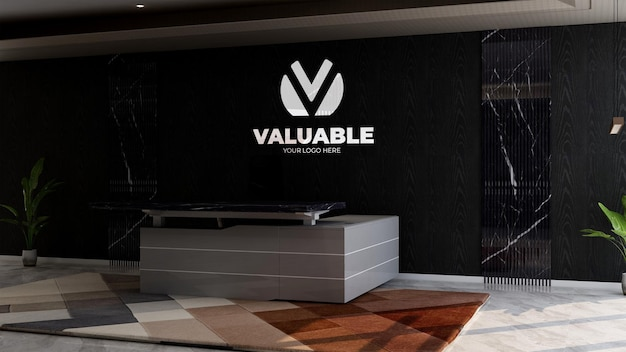 회사 벽 로고 모형을 위한 사무실 접수원 또는 프론트 데스크 룸