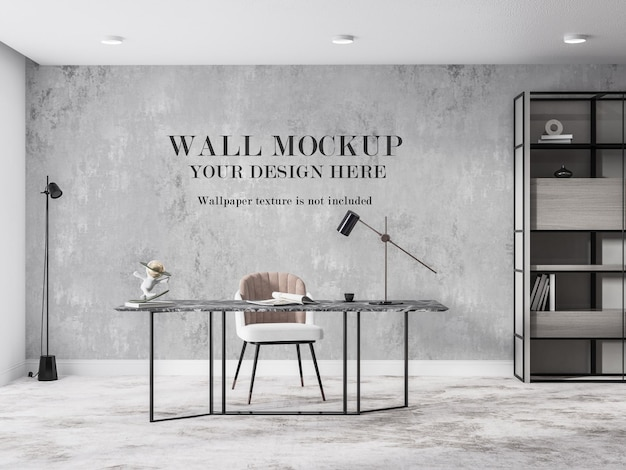 Office room wall mockup design in modern style