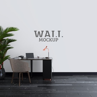 Office room with working desk and wall mockup