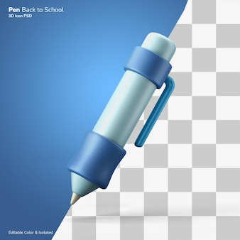 Office school ink pen writing symbol 3d rendering icon editable isolated