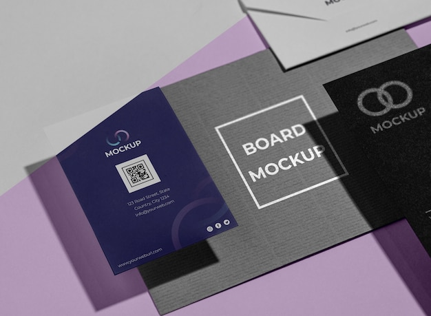 Office stationery mock-up with paper Free Psd