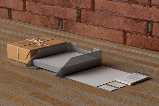 Office stationery on wooden table mockup