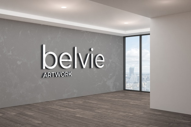 Office wall 3d logo mockup