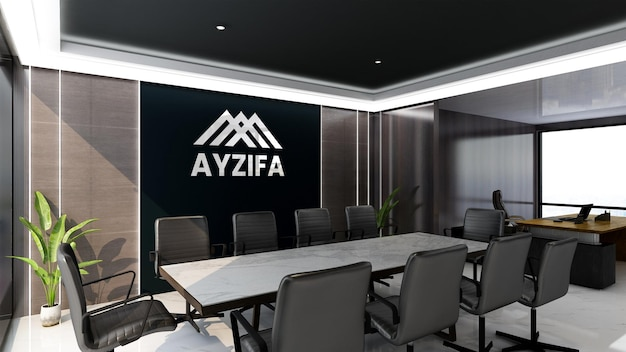 Office wall logo mockup in business meeting room