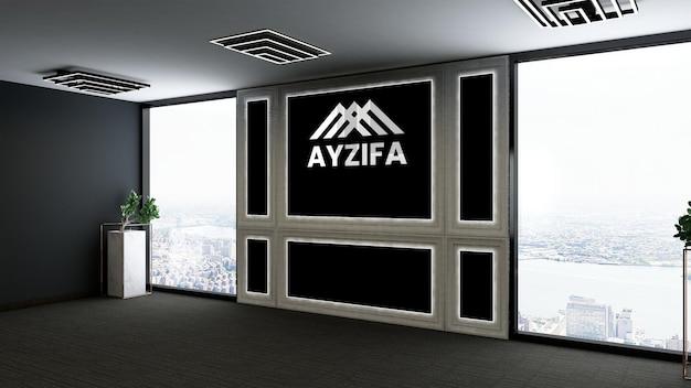 モダンなデザインの壁のロゴのモックアップとオフィス